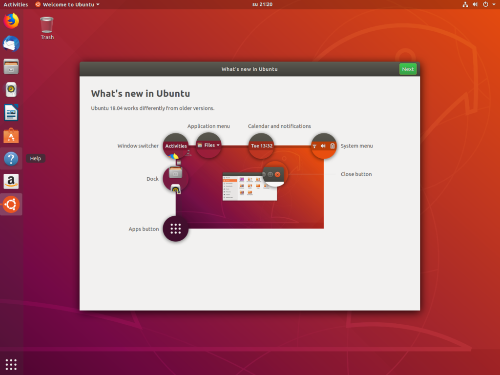 Ubuntu introduction window