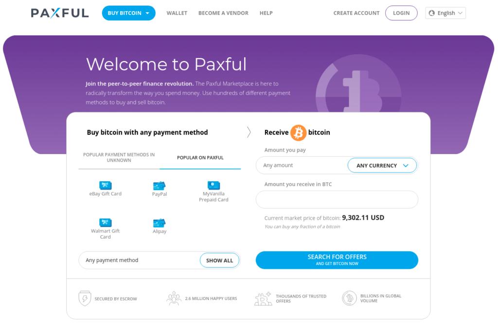 Paxful - Osta Bitcoin käteisellä