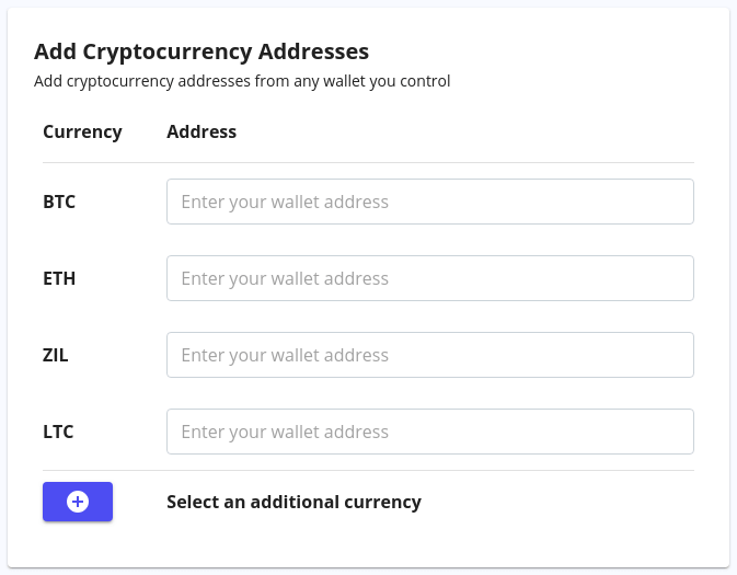 Add Cryptocurrency Addresses